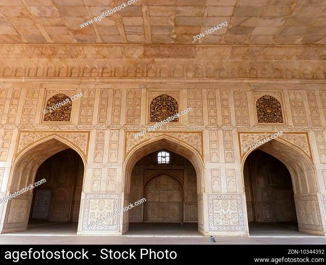 Diwan-i- Khas (Hall of Private Audience) in Agra Fort, Uttar Pradesh, India. The fort was built primarily as a military structure