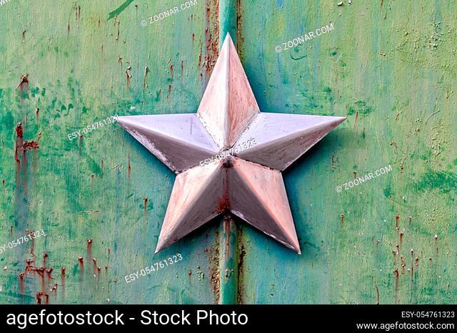 background pattern old iron star on the iron surface in Chernobyl Ukraine