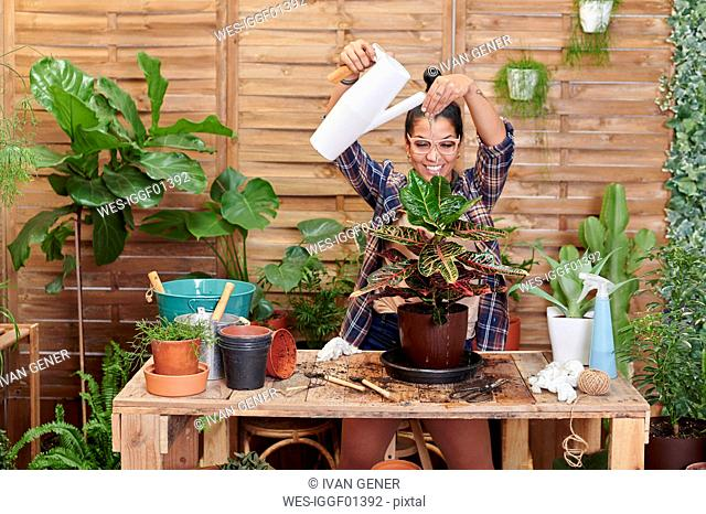 Portrait of a smiling young woman gardening on her terrace