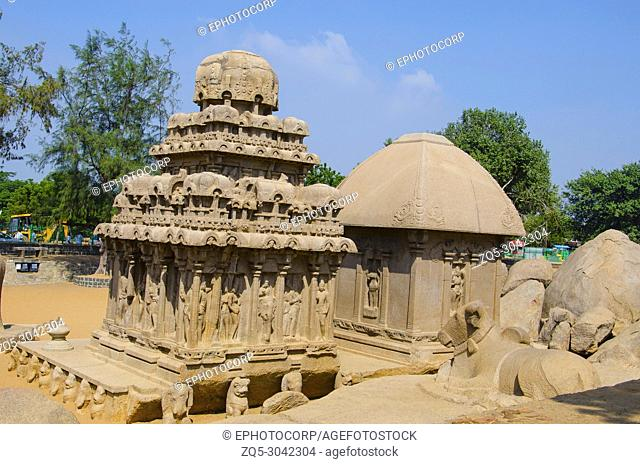 Outer view of Pancha Rathas, (also known as Five Rathas or Pandava Rathas) Mahabalipuram, Tamil Nadu, India. It is an example of monolithic Indian rock - cut...
