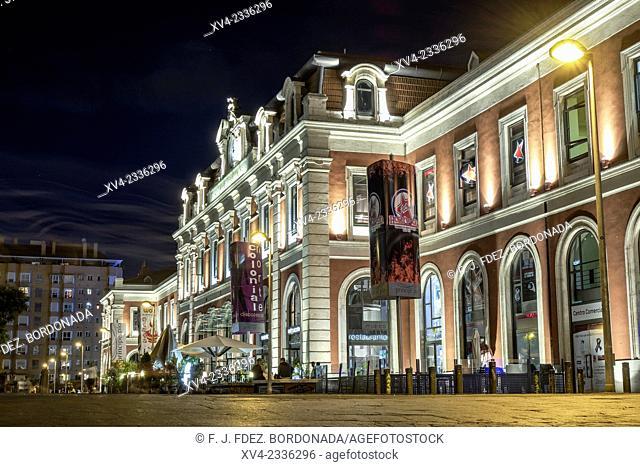 Principe Pio, Train station facade by night. Madrid, Spain