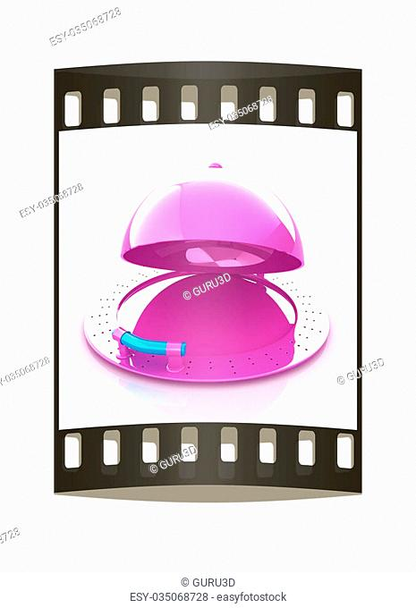 restaurant cloche with open lid. The film strip