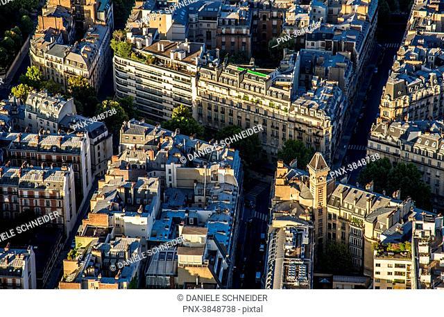 France, 7th arrondissement of Paris, view from the Eiffel Tower (avenue Rapp, rue de Montessuy)