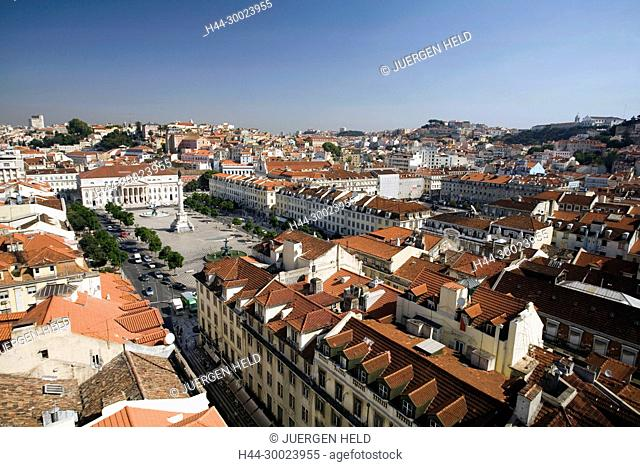 Portugal, Lisbon, Portugal, View from Elevator Santa Justa towords Rossio square   Lissabon Ausblick vom Elevator Santa Justa auf Rossio Platz Baixa Chiada