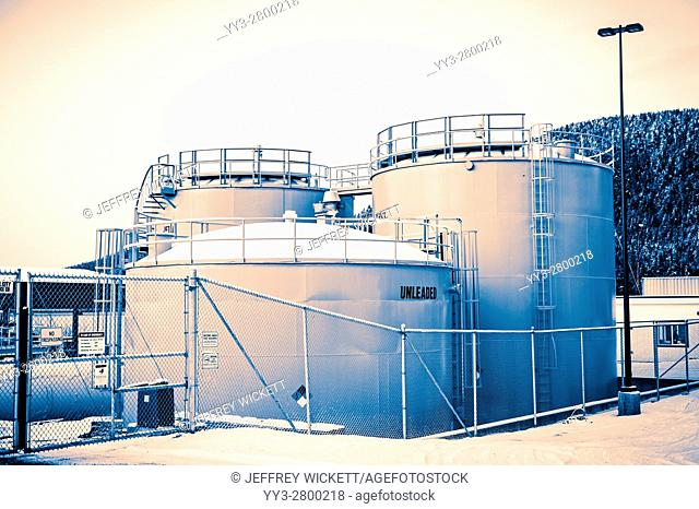 Fuel Storage tanks near Sitka, Alaska, USA