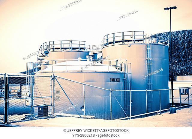 Fuel Storage tanks near Sitka, Alaska, USA
