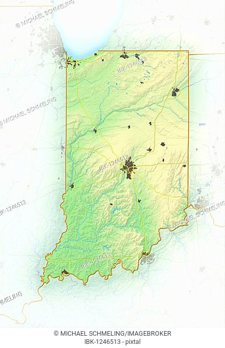 Indiana, shaded relief map, USA