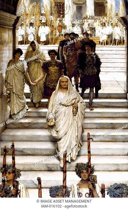 Sir Lawrence Alma-Tadema 'The Triumph of Titus' oil on panel Emperor Titus returned to Rome triumphantly following his capture of Jerusalem in AD 70