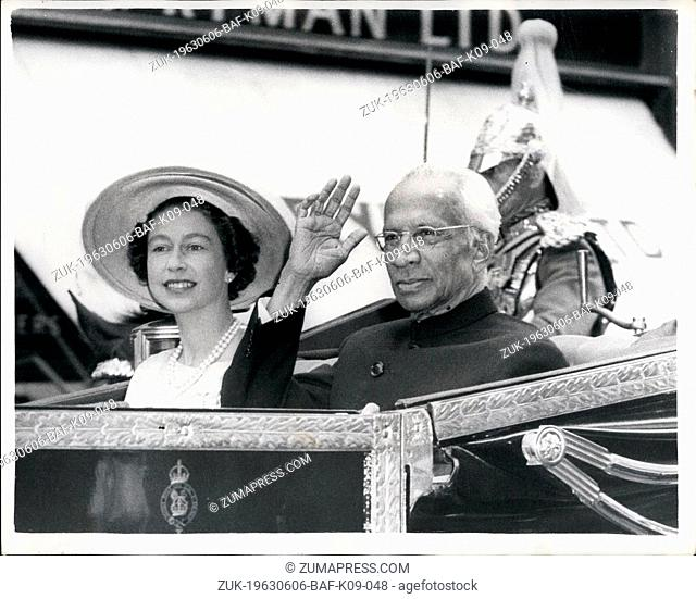 Jun. 06, 1963 - Indian President Arrives in London.: Dr. Radhakrishnan, President of India, has arrived on a visit.: Photo shows the Queen and Dr