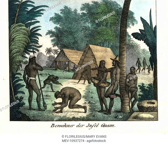Chamorro people of the island of Guam. Handcolored lithograph from Friedrich Wilhelm Goedsche's Complete Gallery of Peoples in True Pictures, Meissen
