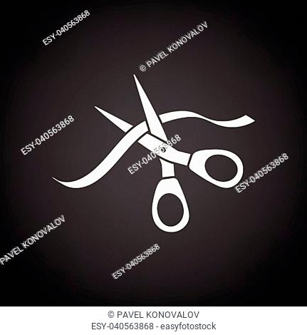 Ceremony ribbon cut icon. Black background with white. Vector illustration