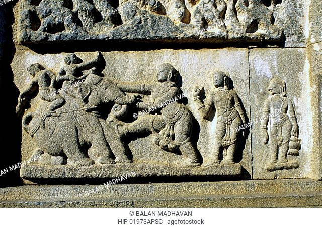 STONE CARVINGS IN RAMA TEMPLE, PENUKONDA, ANDHRA PRADESH,INDIA