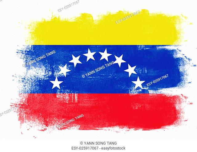 Flag of Venezuela painted with brush on solid background