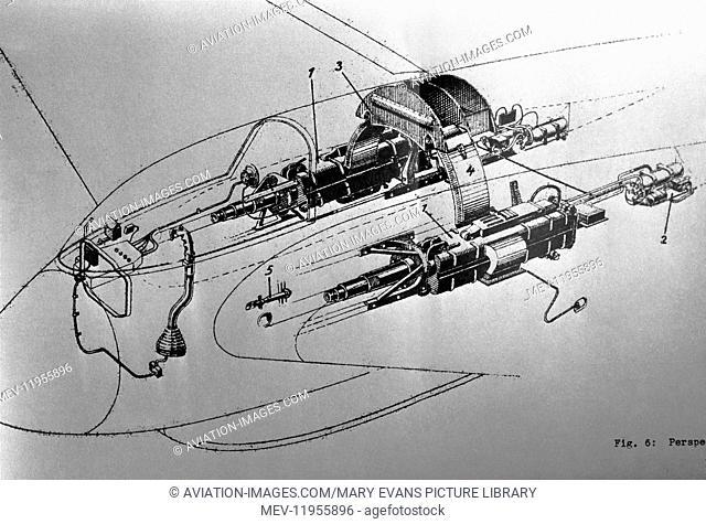Luftwaffe Messerschmitt Me-163 Komet Joy-Stick Control System for the Two Machine-Gun Section Line-Drawing Technical-Drawing Diagram