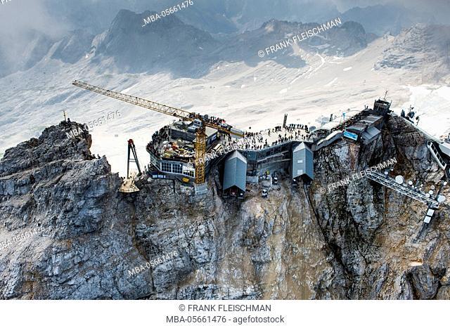 Zugspitze, Garmisch-Partenkirchen, mountaintop, aerial picture, Wetterstein Range, building site Eibseeseilbahn, Bavaria, Germany