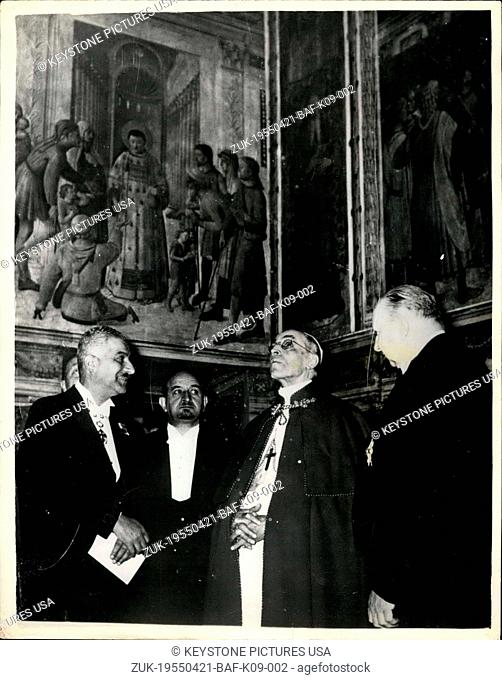 Apr. 21, 1955 - The Pope views 13th. century paintings at the Vatican: One of the most unique art exhibitions in the world is being held at the Vatican