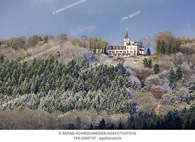 forest and hotel Kockelsberg with snow in winter, Weisshauswald, Trier, Rhineland-Palatinate, Germany