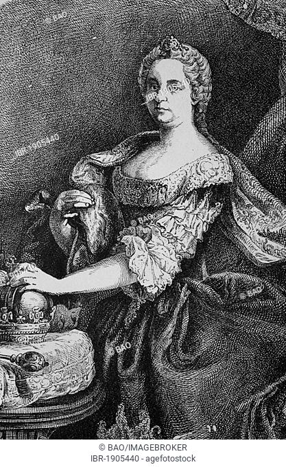 Maria Theresa of Austria, 1717 - 1780, sovereign of Austria and Queen of Hungary and Bohemia, woodcut from 1880