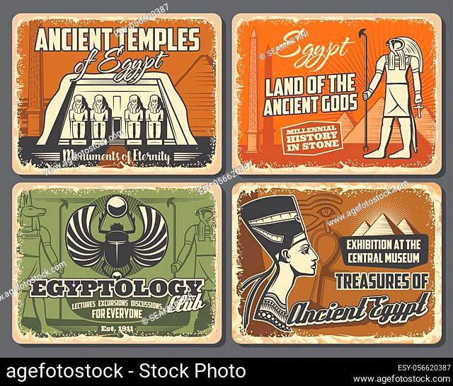 Ancient temples of Egypt, egyptology and land of Gods. Vector religion god Horus with falcon head, Nefertiti, religion, culture and travel theme