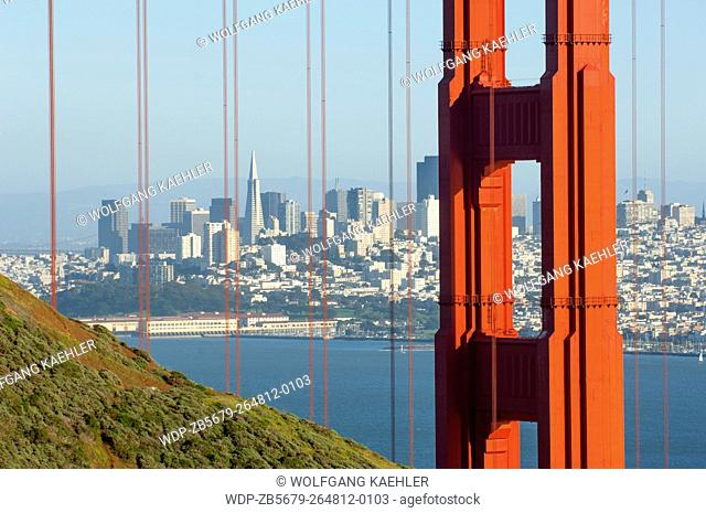 View of the Golden Gate Bridge from Marine Headlands with San Francisco, California, USA in the background