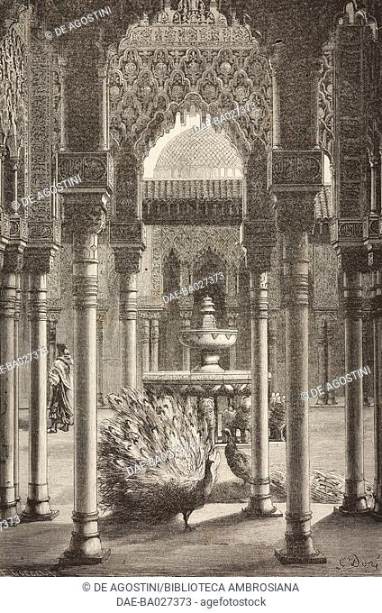 Patio de los Leones (Courtyard of the Lions), Granada, Spain, drawing by Dore, from Travels in Spain by Gustave Dore (1832-1883) and Jean Charles Davillier...