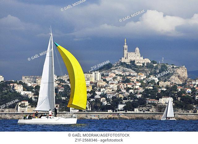 Sailing boat during a regatta in Marseille, France