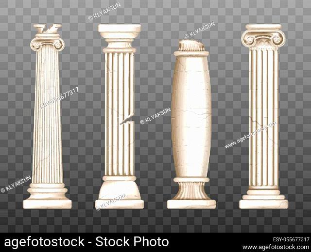 Baroque pillars, roman renaissance columns with cracks. Ancient classic ivory marble, stone greece classic architecture, antique interior colonnade facade...