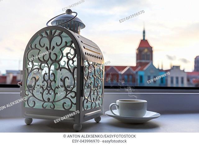 Coffee in Europe, Gdansk cafe window in Poland