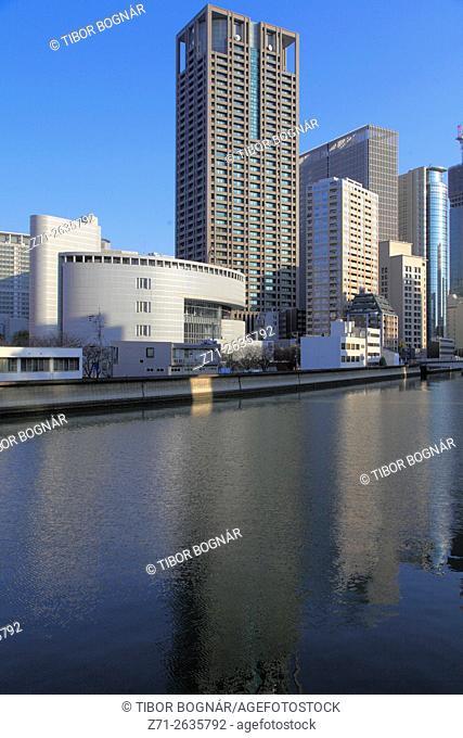 Japan, Osaka, skyline, skyscrapers, Dojimagawa River,