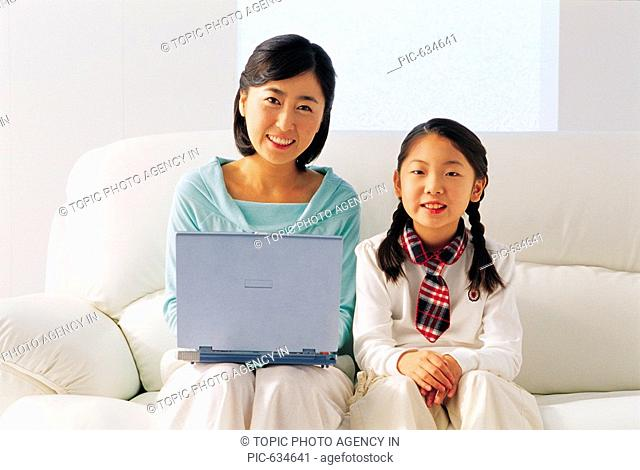 Mother and Daughter at Home,Korea