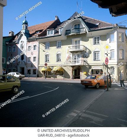 Reise nach Deutschland, Bayern. Travel to Germany, Bavaria. Mittenwald in Oberbayern in den 1980er Jahren. Mittenwald in Upper Bavaria in the 1980s
