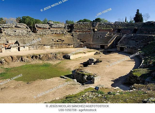 Overview of roman amphitheatre of Mérida city, in Badajoz province  Extremadura  Spain