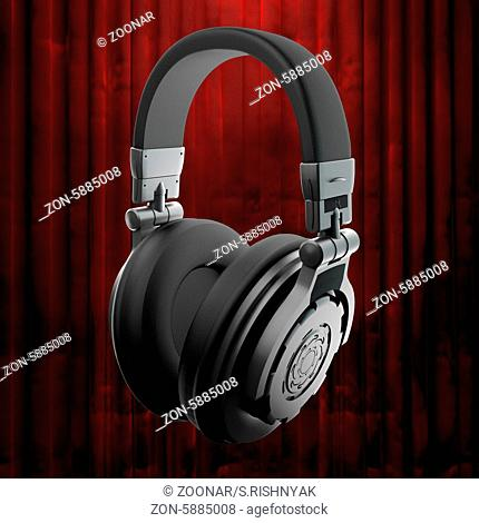 headphones and red curtain
