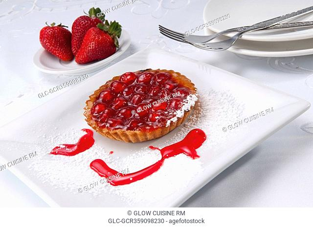 High angle view of a strawberry tart