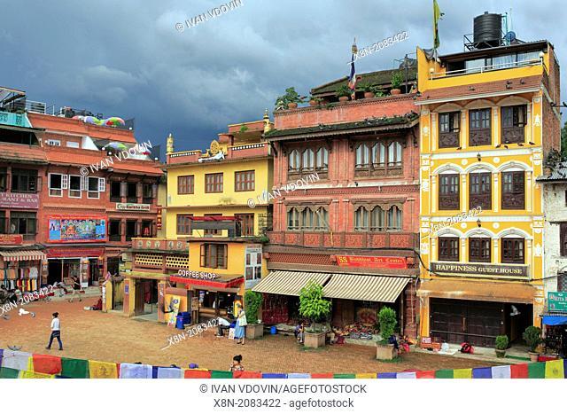 Old houses near Boudhanath stupa, Kathmandu, Nepal
