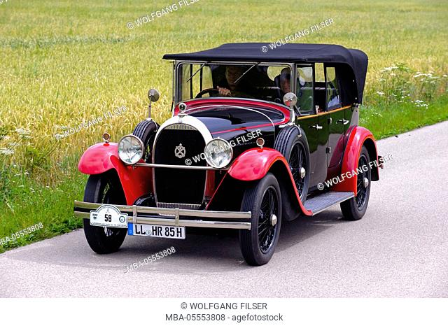 Old-timer rally 'Herkomer contention' in Landsberg in Lech for at least 80 year-old cars, here close Hotchkiss open Tourer, year of manufacture in 1928