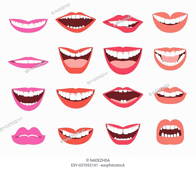 Funny smiles vector set. A set of funny smiling female and male mouths in various facial expressions