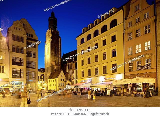 Europe, Poland, Silesia, Wroclaw, Rynek, Old Town Square, Restaurants