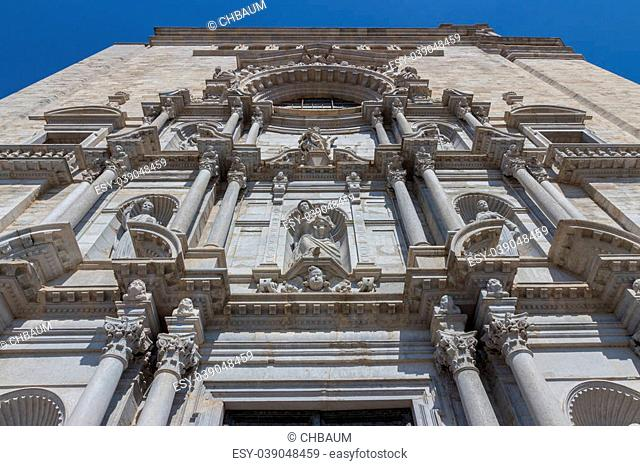 Girona cathedral front with statues and ornaments