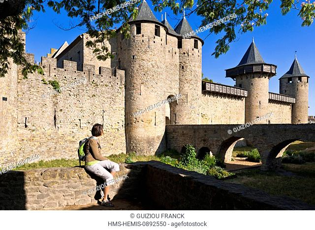 France, Aude, Carcassonne, medieval town listed as World Heritage by UNESCO, the Chateau Comtal