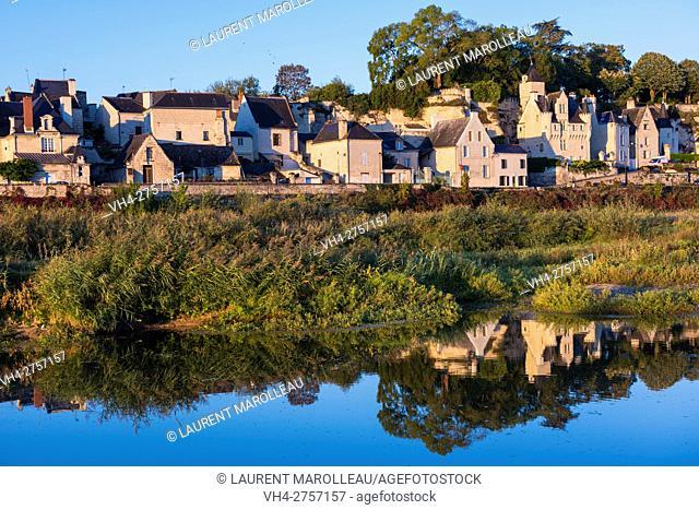 The Village of Souzay-Champigny from Souzay Island on the Loire River, Saumur District, Maine-et-Loire, Pays de la Loire region, Loire Valley, France, Europe