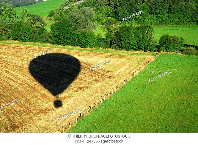 Aerial view of hot air balloon shadow. Meuse, Lorraine region, France