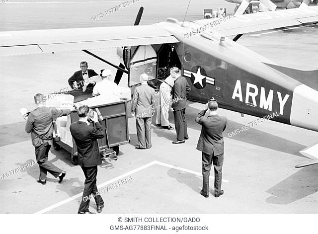 The Alabama National Guard prepares to fly polio vaccine from Birmingham to Haleyvilled during the epidemic of 1963. In the early 1950's