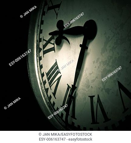 Abstract dark clock detail background