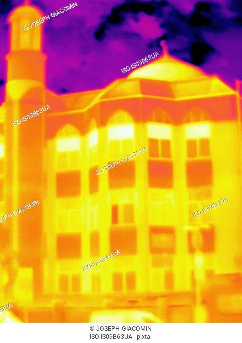 Thermal image of Finsbury park mosque, Finsbury, Islington, London, UK, Europe