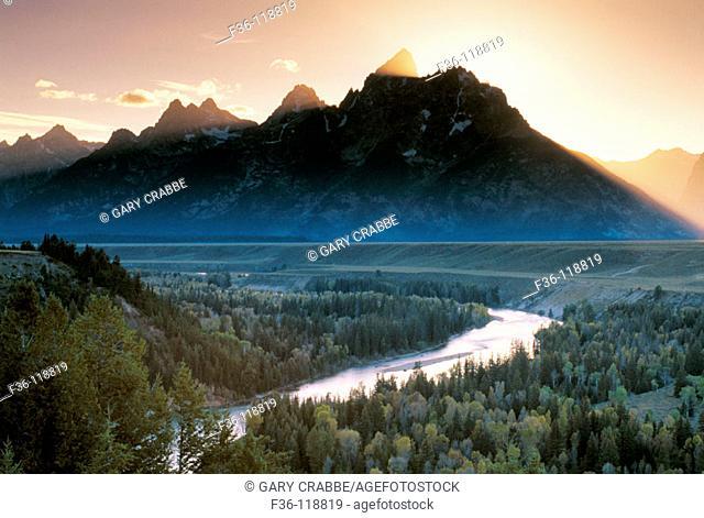 Snake River and Teton Range. Grand Teton National Park. Wyoming. USA