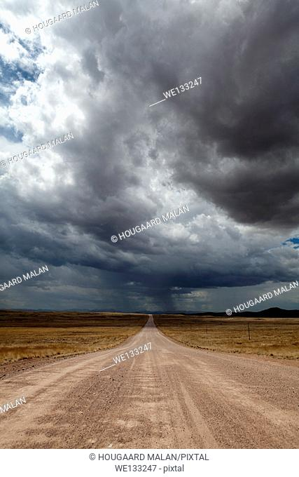 Landscape photo of Namibia's C14 near Solitaire under stormy summer skies. Namibia
