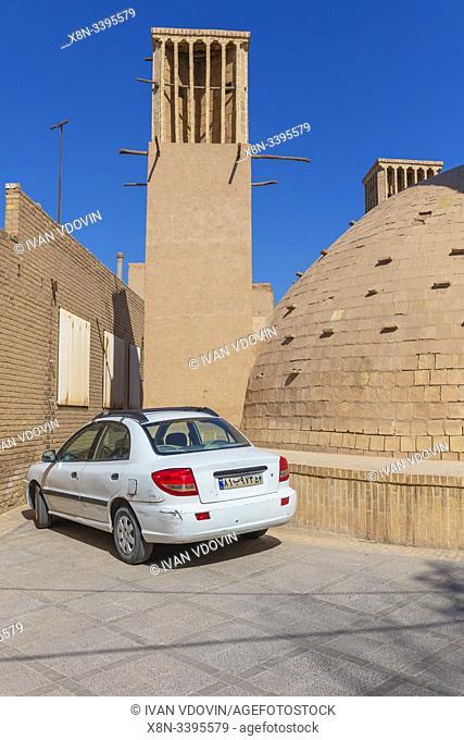 Windcatcher, windtower, badgir, ab anbar, water reservoir, Yazd, Yazd Province, Iran