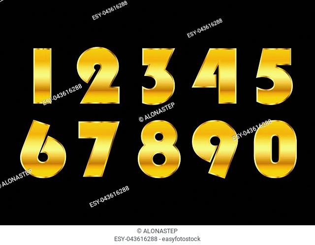 Gold numbers set. Golden metallic font, isolated on black background. Beautiful typography metal design for decoration. Symbol elegance royal graphic