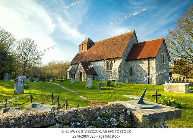 Spring afternoon at St Mary's church in Friston, East Sussex, England. South Downs National Park